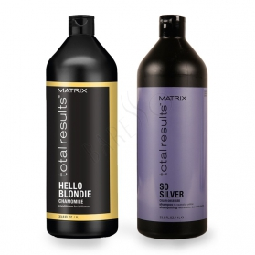 Matrix Total Results Color Obsessed So Silver Shampoo 1000ml + Hello Blondie Conditioner 1000ml
