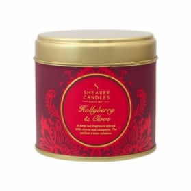 Shearer Candles Large Tin Candle Hollyberry & Clove 40h
