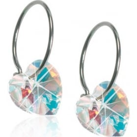 Blomdahl Natural Titanium Hanging Hearts Rainbow