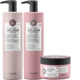 Maria Nila Luminous Colour Shampoo + Conditioner 1000ml & Masque 250ml