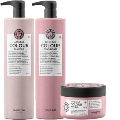 Maria Nila Luminous Colour Shampoo + Conditioner 1000ml & Masque 250ml