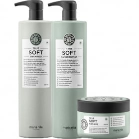 Maria Nila True Soft Shampoo + Conditioner 1000ml & Masque 250ml