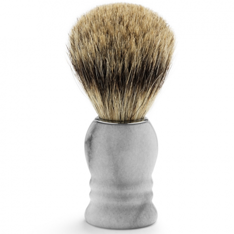 Shaving Brush Marble White