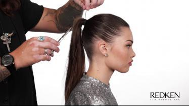 Simple, sleek, swept back style created with Redke